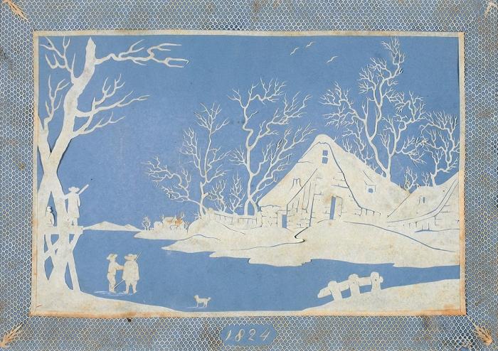 Неизвестный художник. Силуэт «Пейзаж». 1824. Бумага, аппликация, 12,5x18см (всвету).