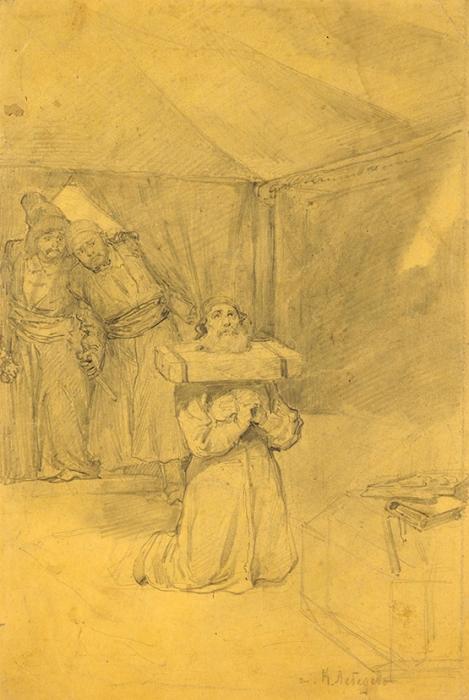 Лебедев Клавдий Васильевич (1852–1916) «Пленник». Конец XIXвека. Бумага, графитный карандаш, 26,5x17,9см.