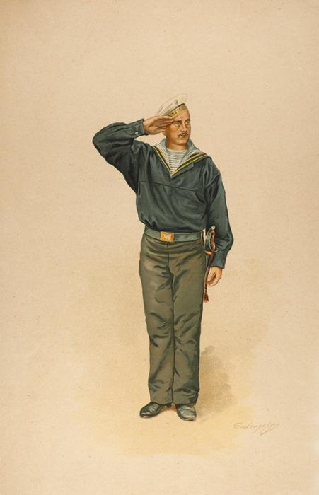 Бенкендорф Дмитрий Александрович (1845–1910-е) «Моряк гвардейского экипажа». 1890-е— 1900-е. Бумага, хромолитография, 50x33,5см.