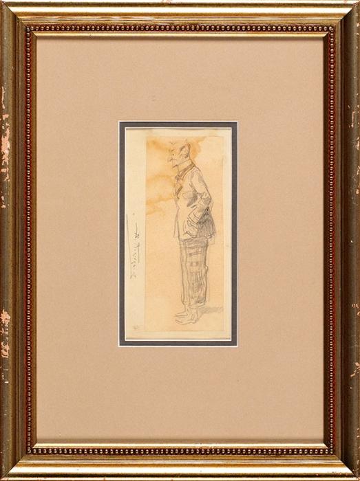Маковский Владимир Егорович (1846–1920) «Мужская фигура». Начало ХХвека. Бумага, графитный карандаш, 15,2x6,3см.