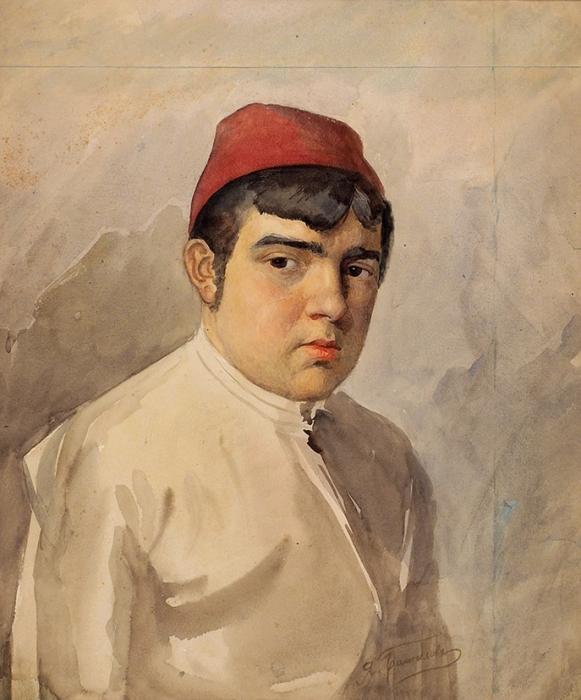 Башилов Яков Александрович (1882–1940) «Портрет молодого человека вфеске». Начало ХХвека. Бумага, акварель, 46x38,5см.