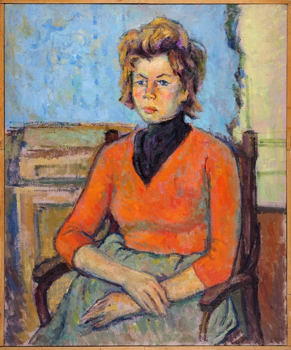 Глускин Александр Михайлович (1899–1969) «Девушка вкрасном». 1960. Холст, масло, 89,5x74,5см.