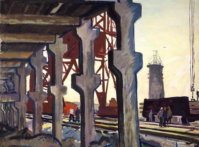 [Собрание наследников художника] Алексеев Адольф Евгеньевич (1934–2000) «Химзавод». 1964. Бумага, темпера, 45,5x62см.
