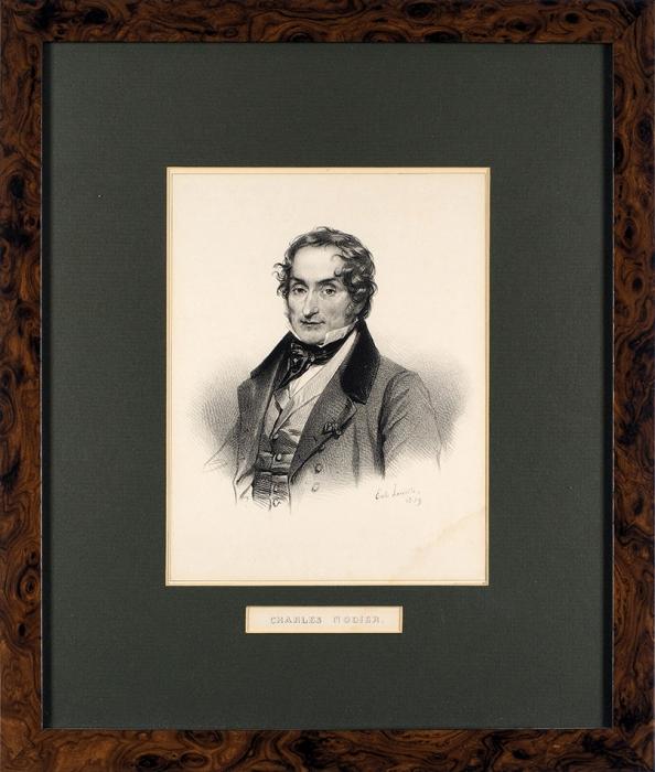 Портрет французского писателя ибиблиофила Шарля Нодье. Литография. Париж, 1839.