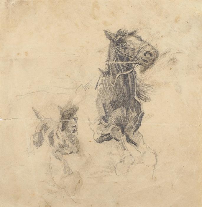 Самокиш Николай Семёнович (1860–1944) «Лошадь исобака». Набросок. 1900-е. Бумага, карандаш, 14x14см.