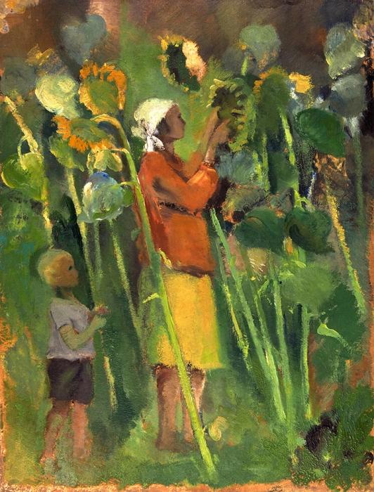 Платунова Александра Георгиевна (1896–1966) «Подсолнухи». Конец 1920-х. Картон, масло, 33,2x25,4см.