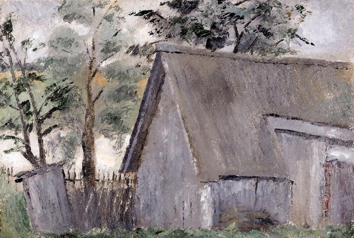Кольцов Сергей Васильевич (1892–1951) «Вдеревне». 1930-е. Картон, масло, 26,5x39см.