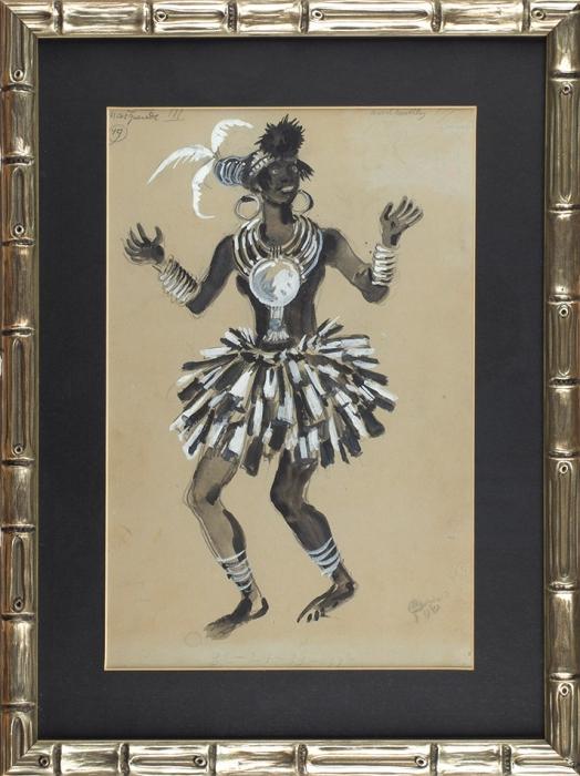 Добужинский Мстислав Валерианович (1875–1957) Эскиз костюма негритянки.1943. Бумага, графитный карандаш, тушь, кисть, белила, серебряная краска, 38x25,5см.