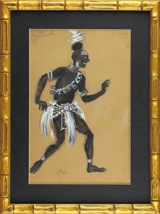 Добужинский Мстислав Валерианович (1875–1957) Эскиз костюма негра. Маскарад.1943. Бумага, графитный карандаш, тушь, кисть, белила, серебряная краска, 38x25,5см.
