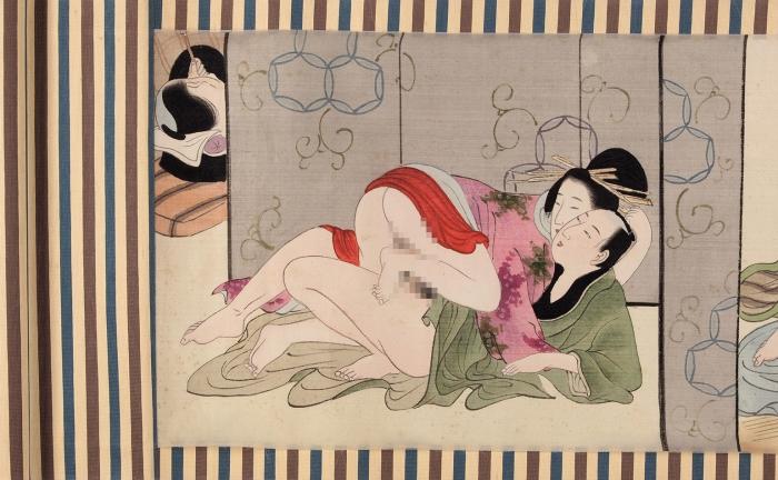 [Сюнга; строго 18+] Свиток сэротическими рисунками. [Позы любви]/ Школа Утагава. Япония, последняя треть XIX— начало XXвека.