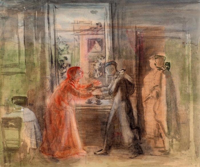 Рублев Георгий Иосифович (1902–1975) «Возвращение сфронта». 1943. Бумага, акварель, 61,2x74,7см.