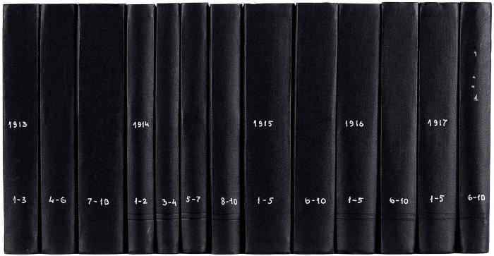 [Полный комплект совсеми обложками] Аполлон. Художественно-литературный иллюстрированный журнал. №1-12, 1909-1910; №1-10, 1911-1917. Пб: Т-во Р. Голике иА.Вильборг, 1909-1917.