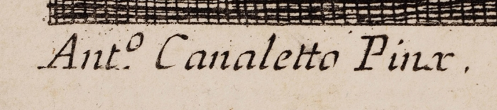 Берарди Фабио (Fabio Berardi) (1728–1788) пооригиналу Каналетто (Каналь Джованни Антонио) (Canaletto, Giovanni Antonio Canal) (1697–1768) «Корабли, вернувшиеся впорт». 1760-1786. Бумага, резец, 36,8x49,8см (лист), 34,2x48,4см (оттиск).