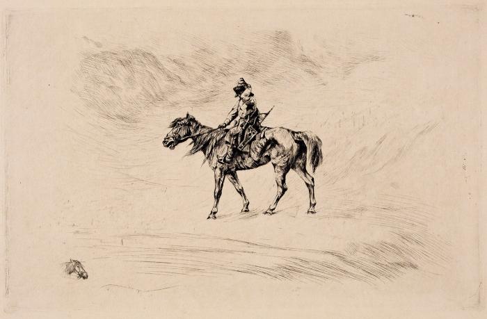 Краснушкина Елизавета (Екатерина) Захаровна (Захарьевна) (1858— неранее 1917) «Всадник». 1883. Бумага, офорт, 23,5x33см (лист), 15x24см (оттиск).