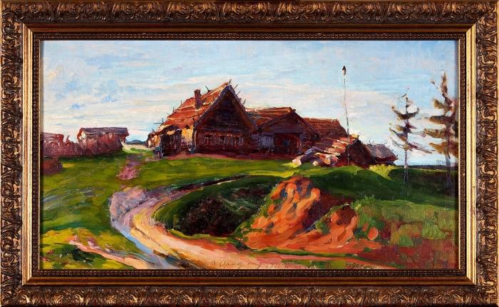 Мешков Василий Никитич (1868–1946) «Въезд вдеревню». 1894. Холст накартоне, масло, 32,6x58,4см.