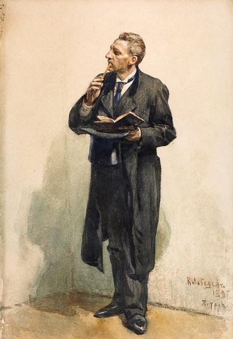 Лебедев Клавдий Васильевич (1852–1916) «Журналист». 1897. Бумага накартоне, графитный карандаш, акварель, 39,8x27,2см.