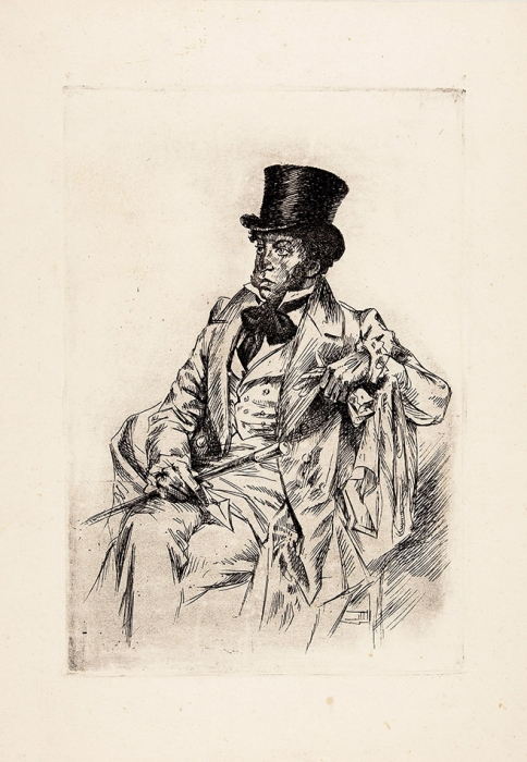 Павлов Николай Александрович (1899–1968) «А.С. Пушкин». 1937. Бумага, офорт, 30,4x21,3см (лист), 23x15,8см (оттиск).