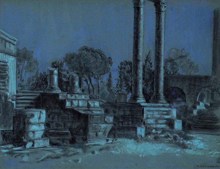Лукомский Георгий Крескентьевич (1884–1952) «Античные руины при свете луны». 1939. Бумага синяя, пастель, 48x62см.