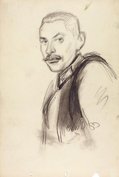 Рудаков Константин Иванович (1891–1949) «Портрет военного». 1930-е. Бумага, графитный ичерный карандаш, 29,2x20см.