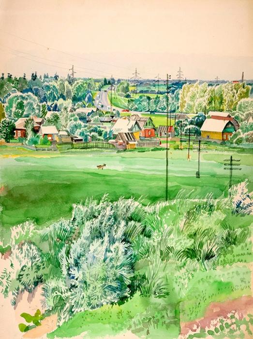 Гольц Ника Георгиевна (1925–2012) «Новый Иерусалим». 1960-е— 1970-е. Бумага, акварель, 48x36см.