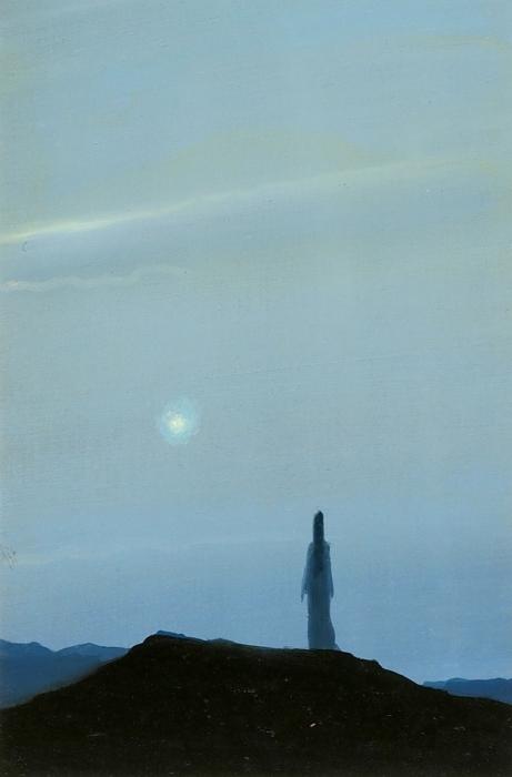 Миронов Геннадий Сергеевич (род.1961) «Композиция сфигурой». 1989. Картон, масло, 14,4x9,6см (всвету).