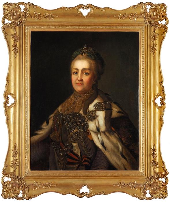[«Онизобразил меня шведской кухаркой...»] Портрет императрицы Екатерины II. Копия сработы Александра Рослина (1718-1793). Первая половина XIXвека.