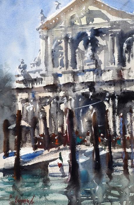 Сергей Кузнецов «Церковь Скальци, Венеция». 2019. Бумага, карандаш, акварель, 56,7x38см.