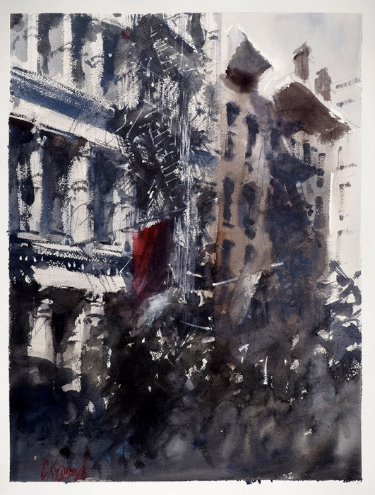 Сергей Кузнецов «Нью-Йорк». 2019. Бумага, карандаш, акварель, 66,5x52см.