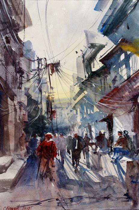 Сергей Кузнецов «Улица Старого Дели, Индия». 2018. Бумага, карандаш, акварель, 56,5x38см, размер враме 71x52см.