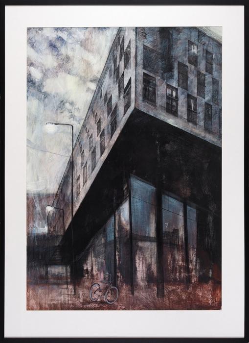 Екатерина Лутохина «Рассвет вАмстердаме. Здание компании Baron GAврайоне Зибург». 2015. Бумага, акрил, уголь, карандаш, акварель, 99x68,5см, размер враме 121x86см.