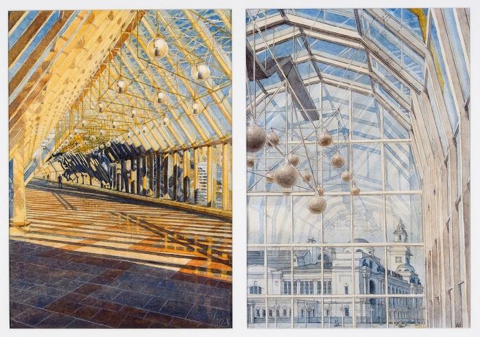 Инна Дианова-Клокова «Историческая память всовременной архитектуре». 2020. Бумага, акварель, акварельные карандаши (два листа водной раме), размер каждого листа 42x30см, размер враме 55x75см.