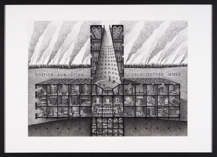 Артем Сухоплюев «Хоспис для умирающей архитектуры». 2020. Бумага, линер, перьевая ручка, карандаш, уголь, 42x58см, размер враме 60x80см.