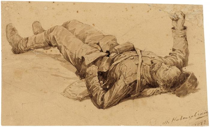 Ковалевский Павел Осипович (1843–1903) «Раненый солдат». 1882. Картон, сепия, 11,5x19см.