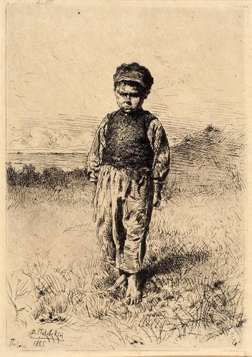 Маковский Владимир Егорович (1846–1920) «Мальчик-хохол вкартузе». 1885. Бумага, офорт, 17,2x12,8см (лист), 13,2x9см (оттиск).