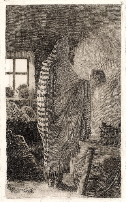 Клодт фон Юргенсбург Михаил Петрович (1835–1914) «Молящийся еврей». 1887. Бумага, офорт, акватинта, 30,8x21,5см (лист), 18,2x11,1см (оттиск).