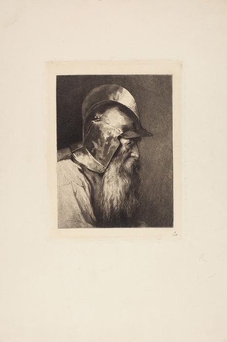 Гун Карл Федорович (1830–1877) «Мужчина влатах». Вторая половина XIXвека. Бумага, офорт, 39,8x26,8см (лист), 20,8x16см (оттиск).