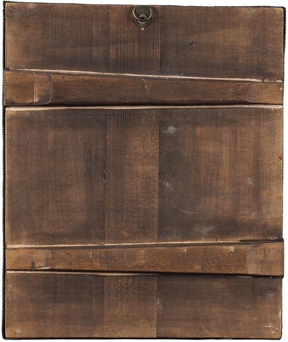 Икона «Серафим Саровский» всканом окладе. Россия. Вторая половина XIXвека. Дерево, масло; скань. Размер21,5x18,5x2,5см.