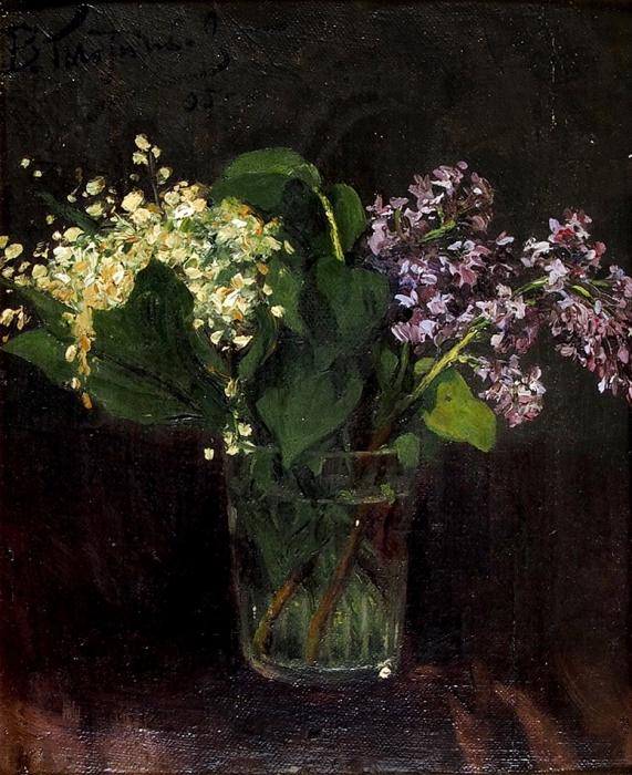 Плотников Владимир Александрович (1866–1917) «Сирень». 1895. Холст накартоне, масло, 29x23,7см (всвету).
