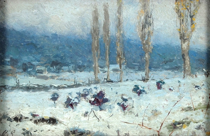 Ендогуров Иван Иванович (1861–1898) «Зимний пейзаж». 1897. Холст накартон, масло, 10,8x16,2см.