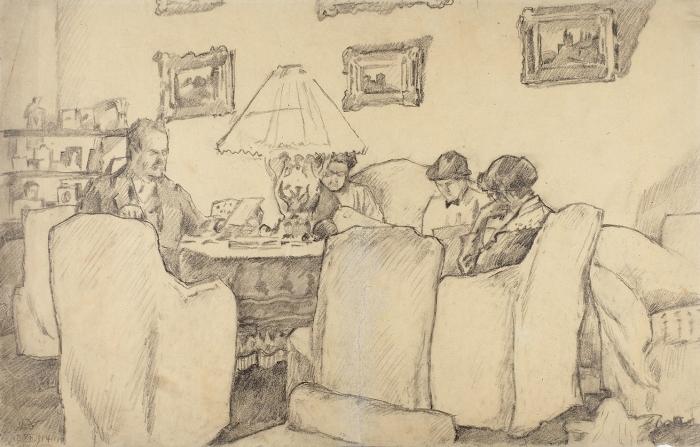 Добужинский Мстислав Валерианович (1875–1957) «Вечерние занятия. Семья вгостиной». 1914. Бумага, итальянский карандаш, 25,7x40,5см.
