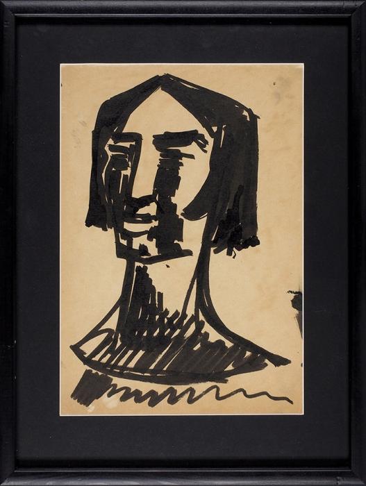 Зданевич Кирилл Михайлович (1892–1969) «Портрет». Наобороте «Женская фигура». 1910-е— 1920-е. Бумага, тушь, кисть, 28x19,5см (всвету).