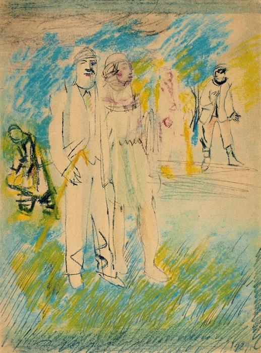 Слоневский Николай Николаевич (?-?) «Нэпманы напрогулке». 1920-е. Бумага, акварель, тушь, пастель, 35,9x27см.