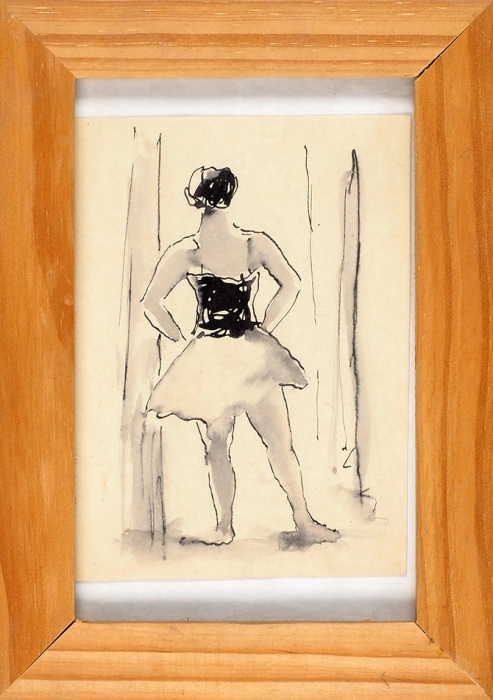 [Собрание М.П. Сокольникова] Даран Даниил Борисович (1894–1964) «Балерина». 1938. Бумага, тушь, перо, кисть, 11,5x8,5см (всвету).