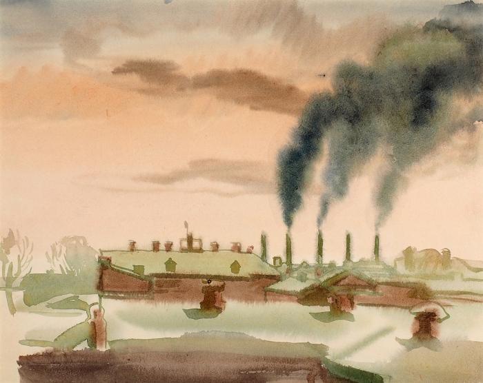 Рублев Георгий Иосифович (1902–1975) «Москва. Дымящие трубы». 1930-е. Бумага, акварель, 29,5x37см.
