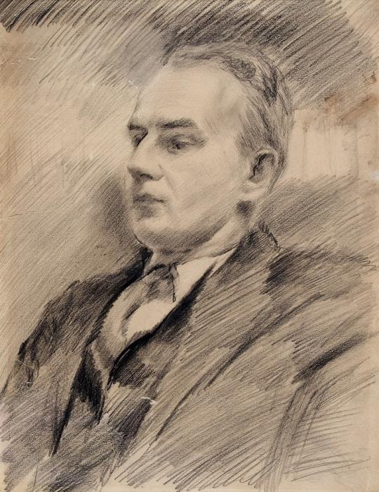 [Собрание М.П. Сокольникова] Неизвестный художник «Портрет М.П. Сокольникова». 1930-е. Бумага, итальянский карандаш, 39,5x30см (всвету).
