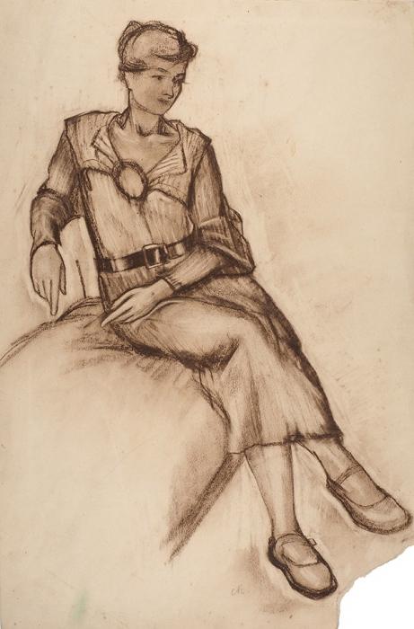 Кольцов Сергей Васильевич (1892–1951) «Портрет жены А.Г. Кольцовой-Бычковой». Конец 1930-х— начало 1940-х. Бумага, сангина, 53x35,5см.