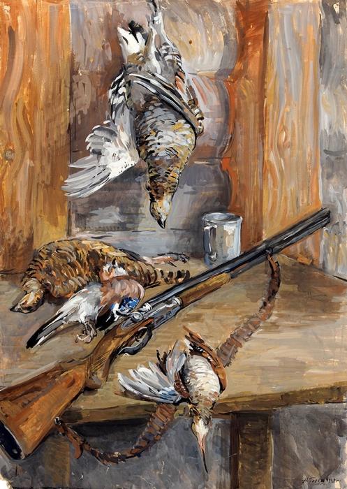 Гольц Ника Георгиевна (1925–2012) «Охотничий натюрморт». 1948. Бумага, гуашь, 83,5x59,3см.