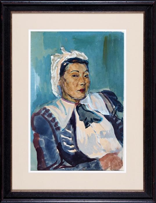 [Собрание С.А. Шустера] Бруни Лев Александрович (1894–1948) «Женский портрет». 1940-е. Бумага, гуашь, 58x38,5см.