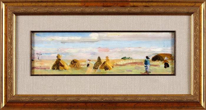 Обросов Игорь Павлович (1930–2010) «Стога». 1951. Холст накартоне, масло, 11x34см.
