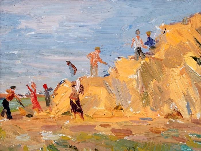 Обросов Игорь Павлович (1930–2010) «Уборка сена». 1951. Холст накартоне, масло, 24x33,5см (всвету).